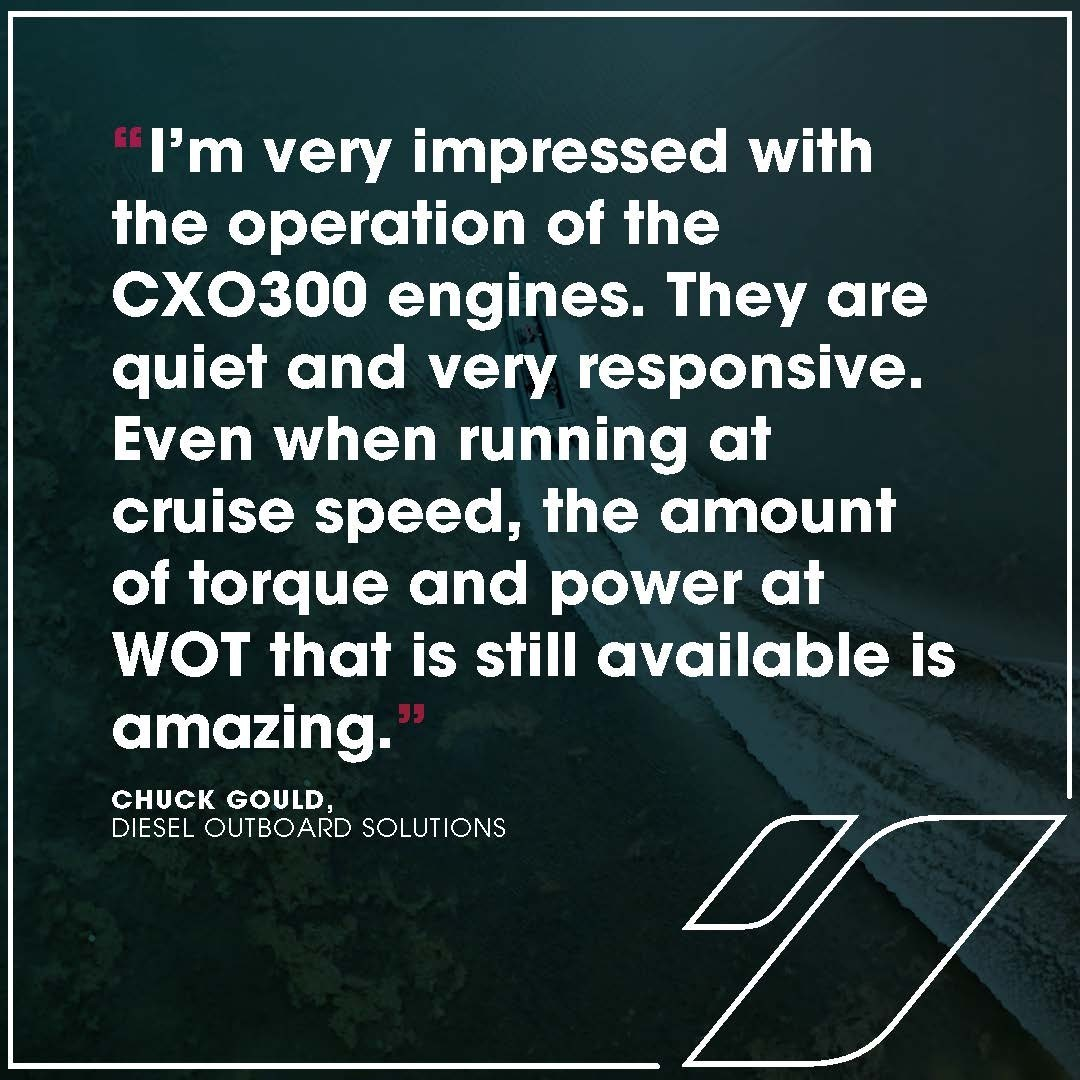 """""""Even when running at cruise speed, the amount of torque and power at WOT that is still available is amazing!"""" Chuck Gould, Diesel Outboard Solutions. Why not see for yourself? Book a demonstration of the market-revolutionising diesel outboard. Link in bio   #CXO300 #CoxPowertrain #Diesel #DieselOutboard #DieselEngine #DieselPower #DieselTechnology"""